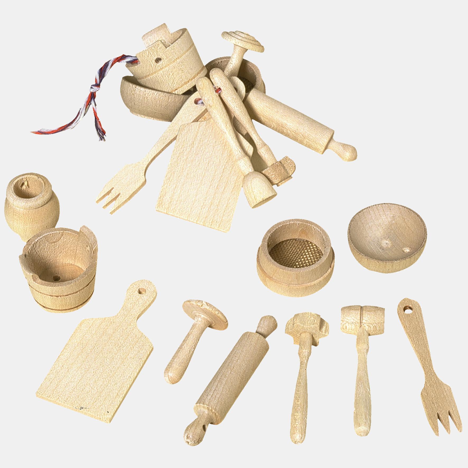 Set 10 miniaturi de bucatarie pentru copii. Din lemn.